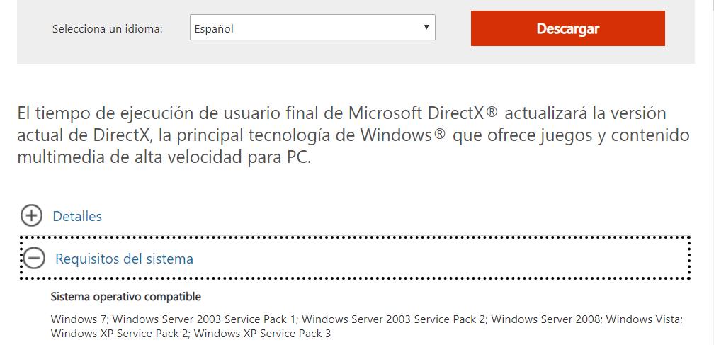 descargar directx para windows