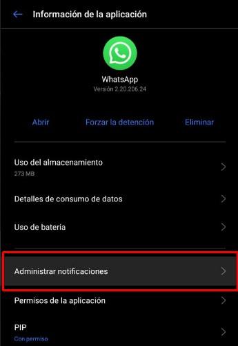 Administrar notifiaciones de WhatsApp