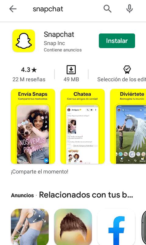 Como descargar y actualizar snapchat
