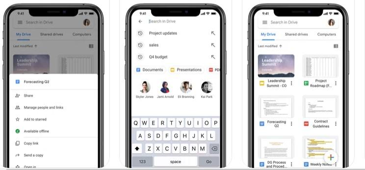 Interfaz de Google Drive en iOS